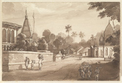 Road lined with thatched houses and temples